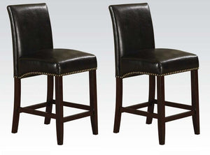 Acme Jakki Black Bycast PU And Walnut Wood Finish 2 Piece Bar Chair