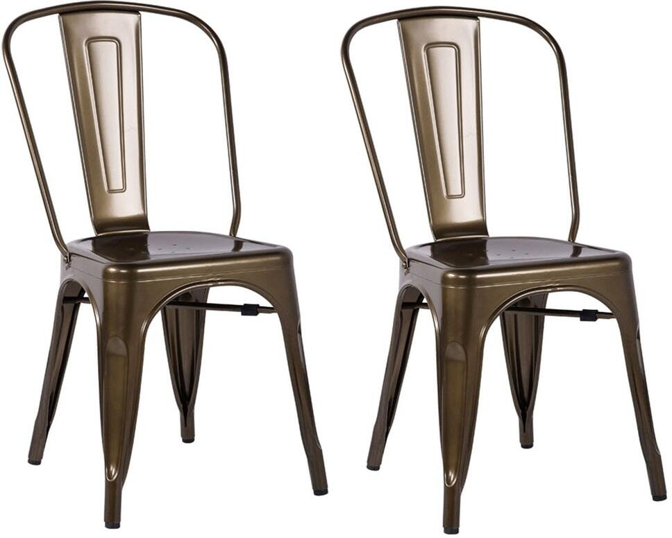 Acme Jakia Bronze Metal Finish 2 Piece Dining Side Chair