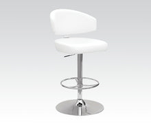 Load image into Gallery viewer, Acme Deka White PU Chrome Swivel Adjustable Bar Stool