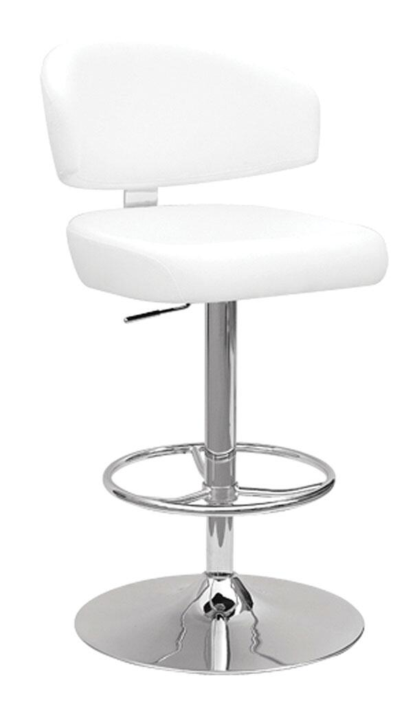 Acme Deka White PU Chrome Swivel Adjustable Bar Stool
