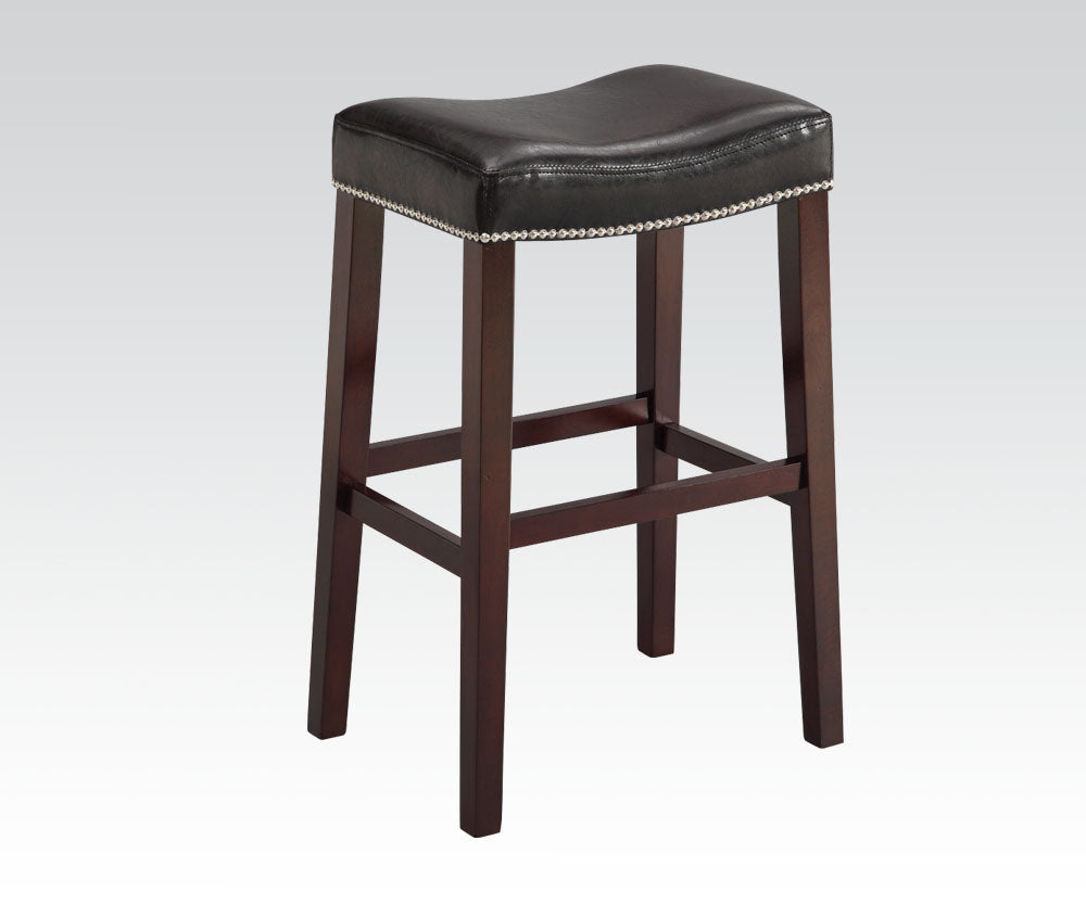 Acme Lewis Espresso And Black Wood Finish 2 Piece Bar Stool