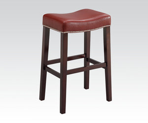 Acme Lewis Espresso And Red Wood Finish 2 Piece Counter Height Bar Stool