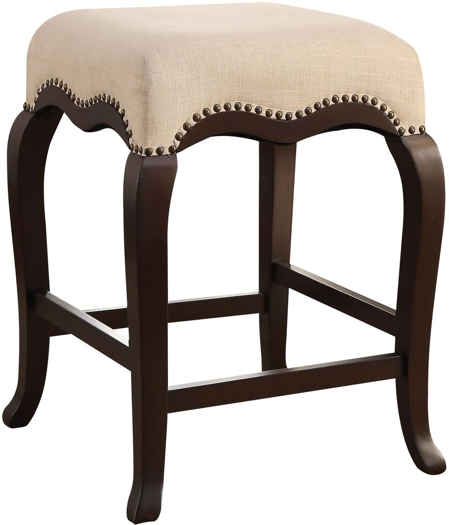 Acme Kakabel Cream Fabric And Espresso Wood Finish Counter Height Stool