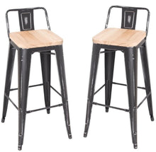Load image into Gallery viewer, Acme Gaius Ash Antique Black Wood And Metal Finish 2 Piece Bar Stool