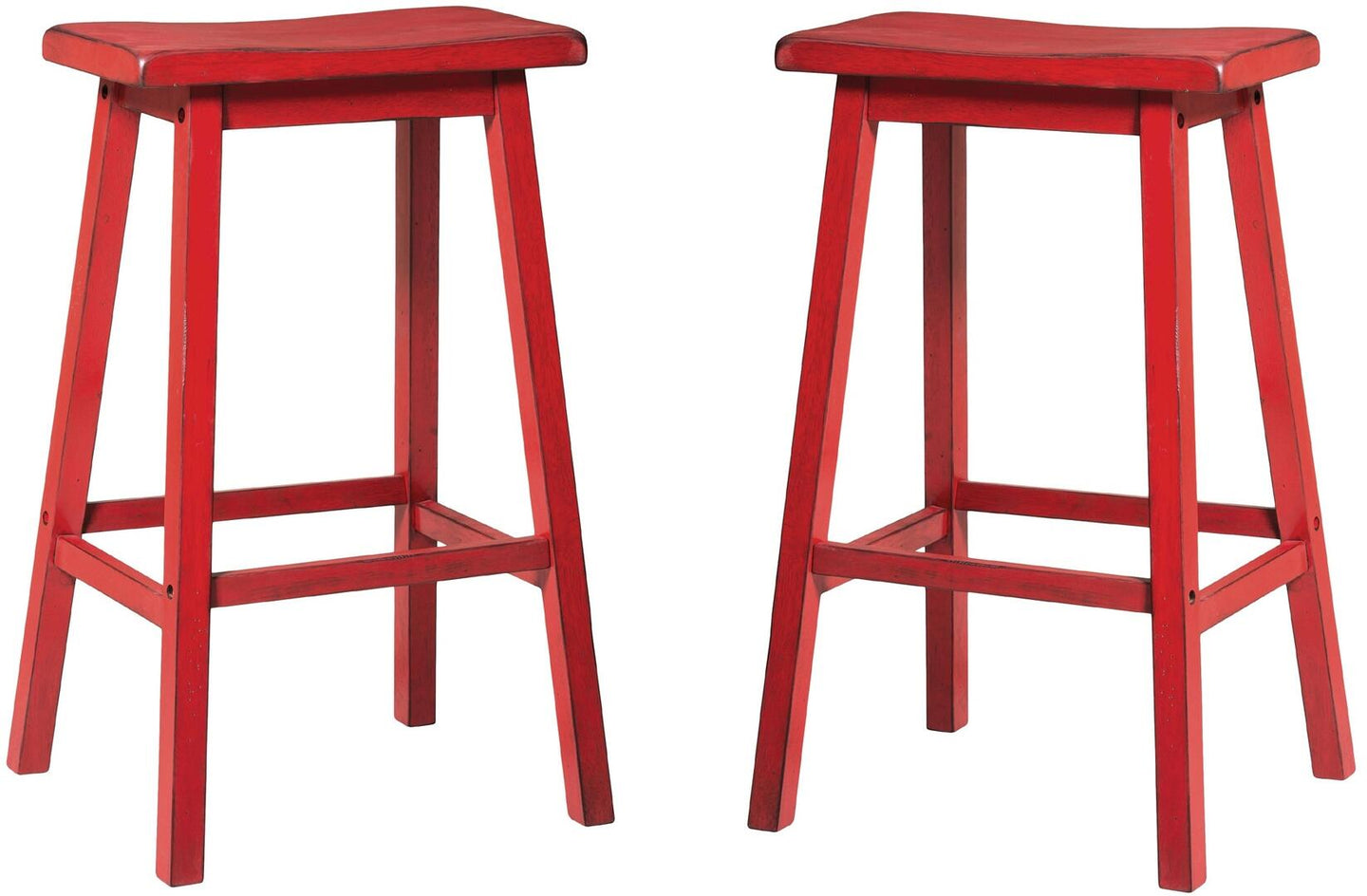 Acme Gaucho Antique Red Wood Finish 2 Piece Bar Stool