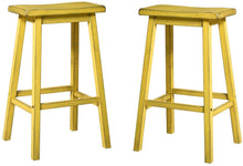 Load image into Gallery viewer, Acme Gaucho Antique Yellow Wood Finish 2 Piece Bar Stool