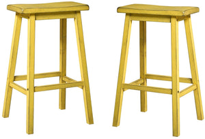 Acme Gaucho Antique Yellow Wood Finish 2 Piece Bar Stool