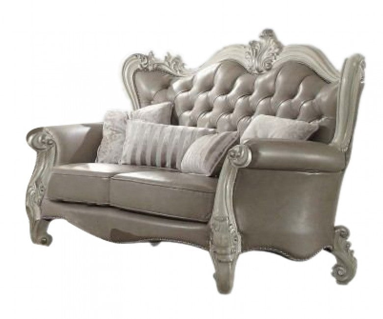 Acme 52126 Versailles Vintage Gray PU Bone White Loveseat