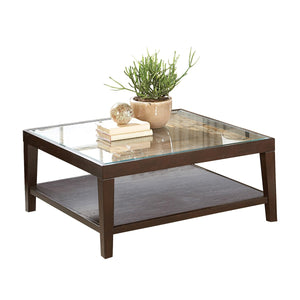 Homelegance 3299-01 Vincent Espresso Wood Coffee Cocktail Table Glass