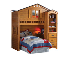 Load image into Gallery viewer, Acme Rustic Oak Tree House Twin Loft Bed with Desk Bookcase
