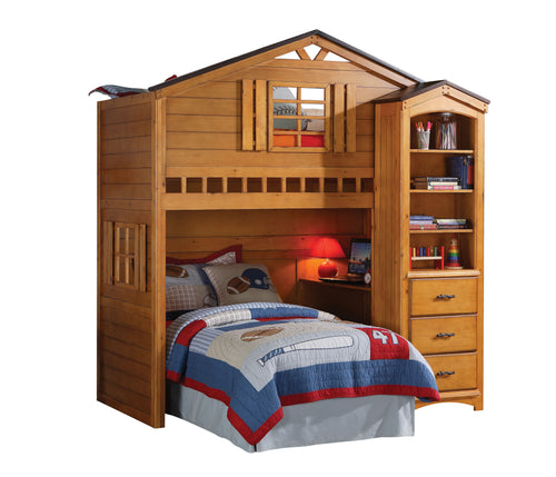 Acme Rustic Oak Tree House Twin Loft Bed with Desk Bookcase