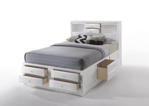 Acme 21700Q Ireland White Bookcase Queen Storage Bed With Drawers