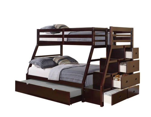 Acme Jason Espresso wood Twin Full Trundle Bunk Bed with Stairs