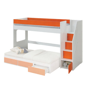 Acme 37460 Lawson White And Orange Wood Finish Twin Loft Bed With Trundle