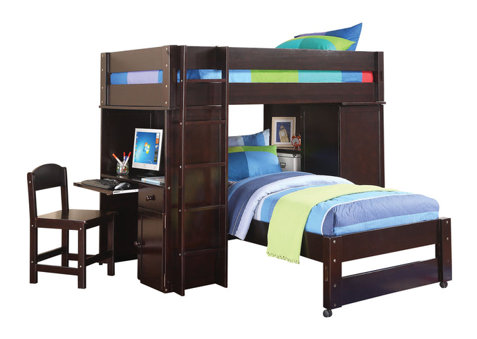 Acme Lars Wedge Twin Loft Bed with Twin Bed Desk Chair