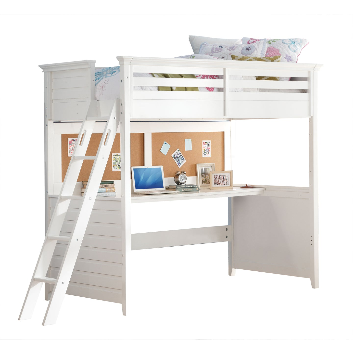 Acme Lacey White Wood Finish Kids Twin Loft Bed with Desk