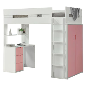 Acme 38040 Nerice White And Pink Wood Finish Twin Loft Bed