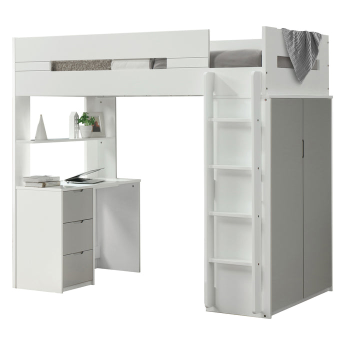 Acme 38050 Nerice White And Gray Wood Finish Twin Loft Bed