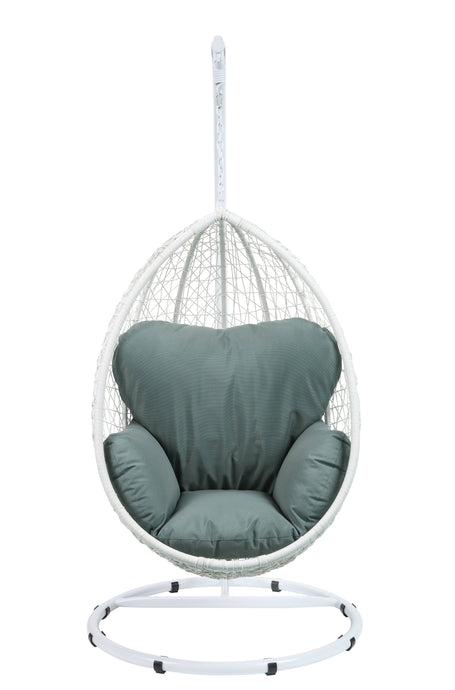 Acme 45032 Simona Green And White Wicker Finish Patio Swing Chair