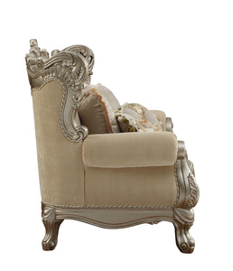 Ranita Love Seat In Champagne Fabric By Acme With Pillows