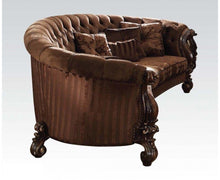 Load image into Gallery viewer, Acme 52080 Versailles Brown Velvet Cherry Oak Sofa with 5 Pillows