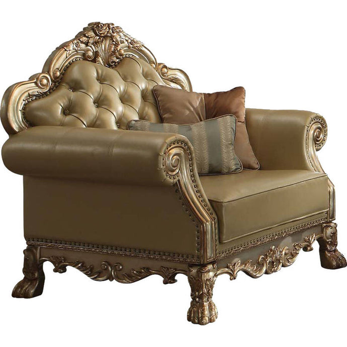 Acme Dresden Gold Patina Vinyl And Wood Finish Chair with Pillows