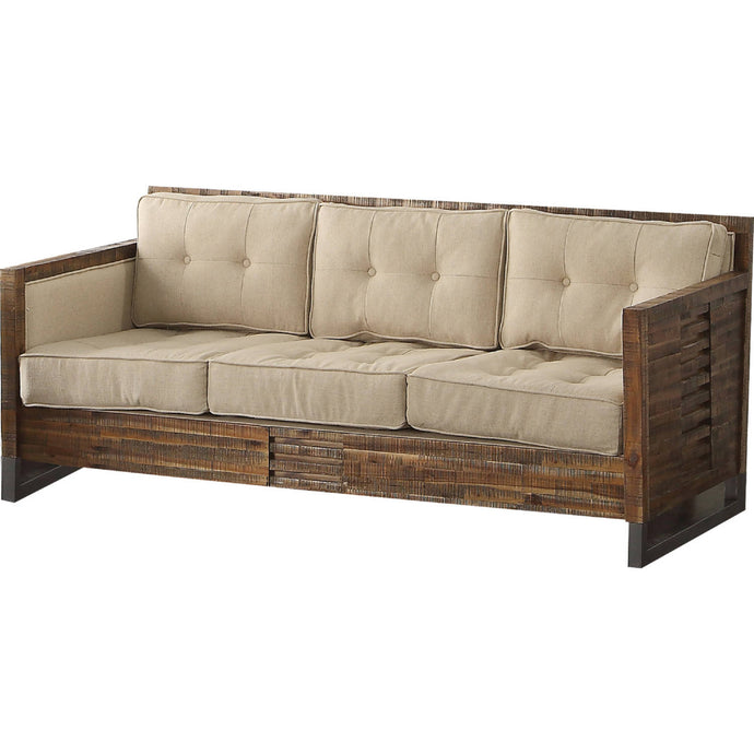 Acme 53450 Andria Beige & Oak Wood Finish Sofa
