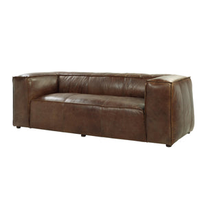 Acme 53545 Brancaster Retro Brown Leather Aluminum Sofa