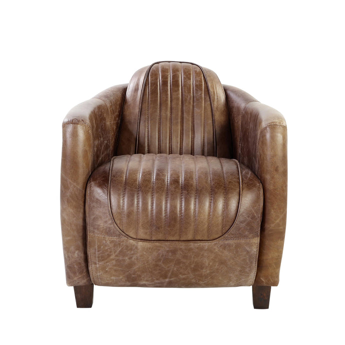 Acme 53547 Brancaster Retro Brown Leather Aluminum Chair