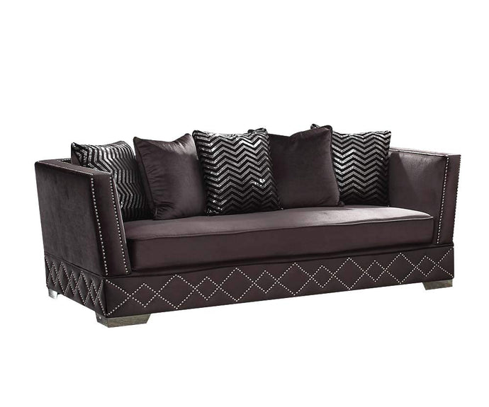Acme Tamara Contemporary Charcoal Velvet Sofa