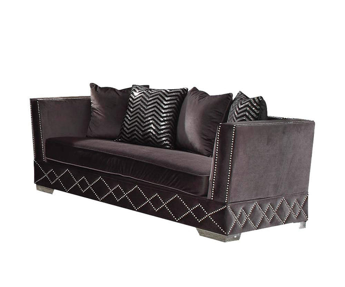 Acme Tamara Contemporary Charcoal Velvet Loveseat