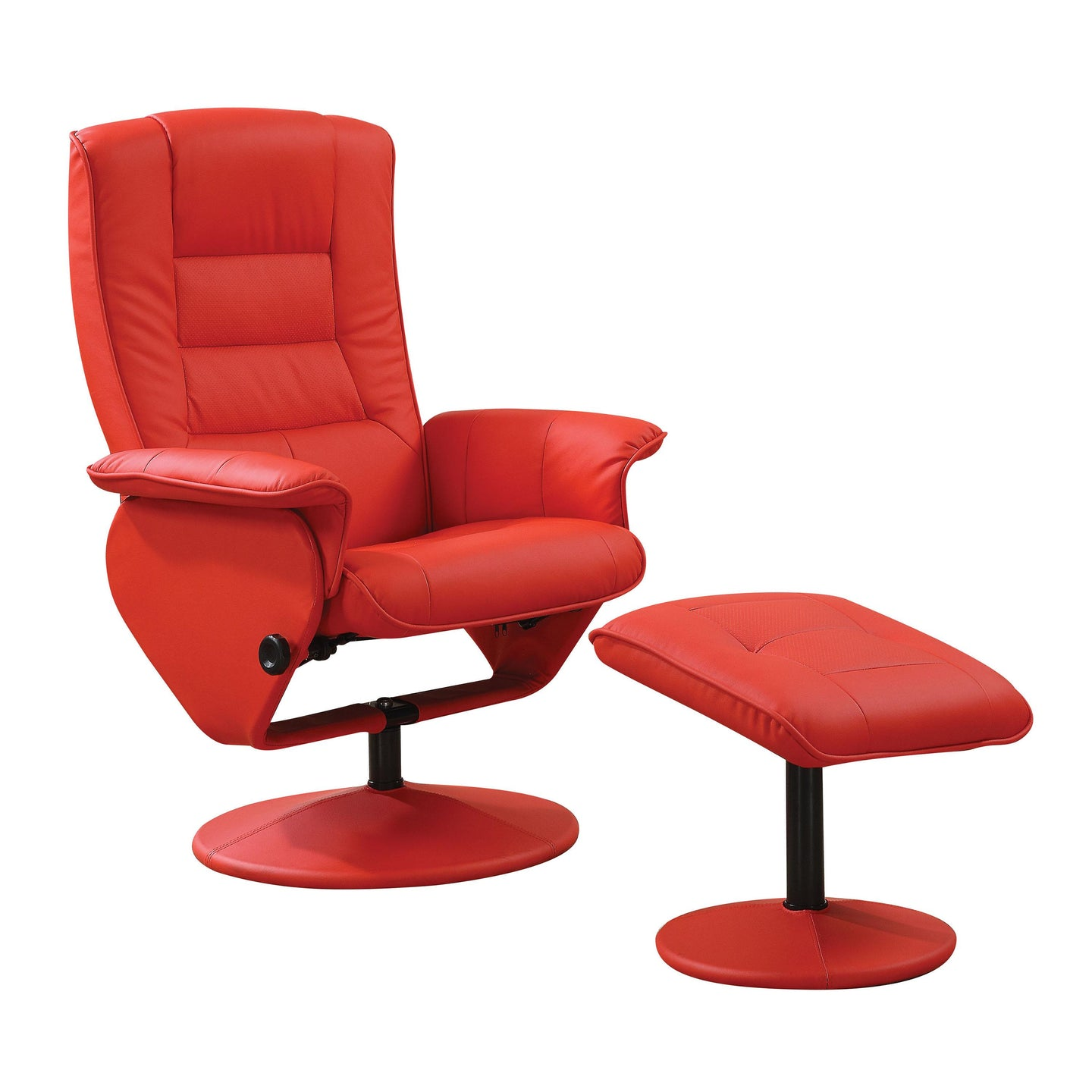 Acme Arche Red PU Pack Recliner Chair and Ottoman