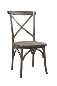 Acme Kaelyn II Gray Metal And Wood Finish 2 Piece Dining Chair