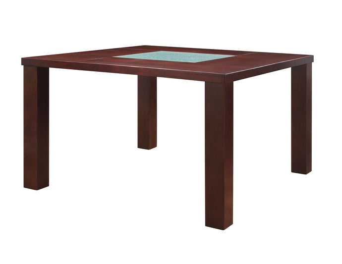 Acme 71040 Keelin Espresso Counter Height Table w Crackled Glass Top
