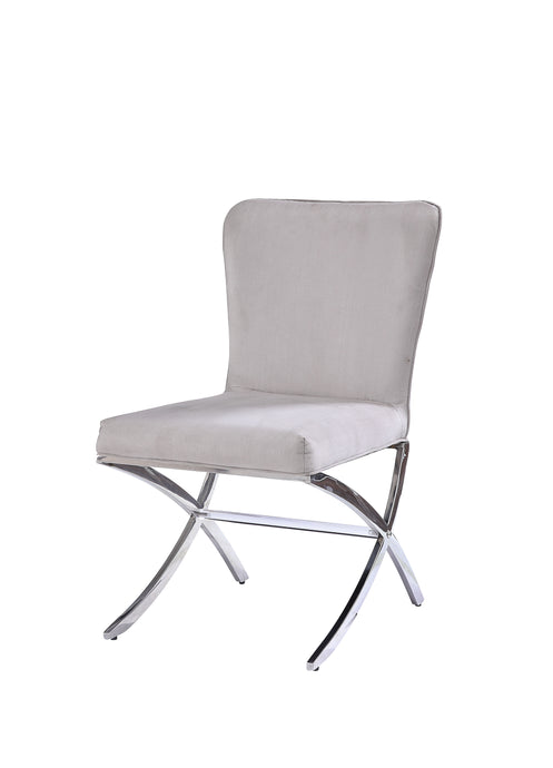 Acme 71182 Daire White Fabric Finish 2 Piece Dining Chair