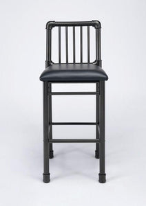 Acme Caitlin Rustic Oak Black Metal Finish 2 Piece Bar Chair