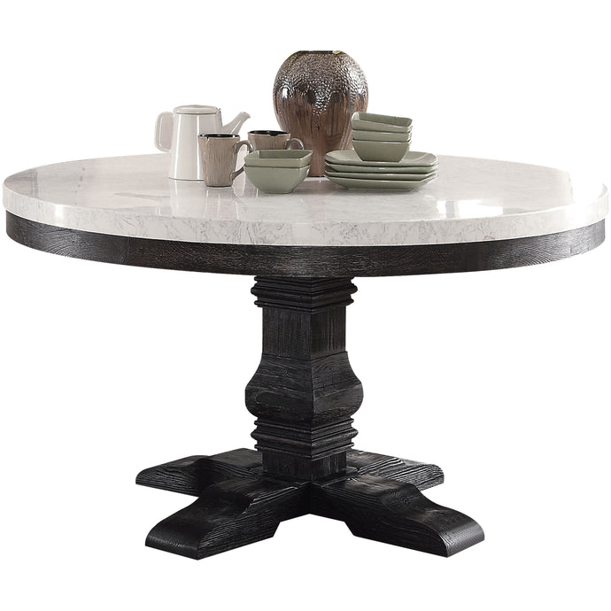 Acme Nolan White Faux Marble Top And Wood Finish Round Dining Table