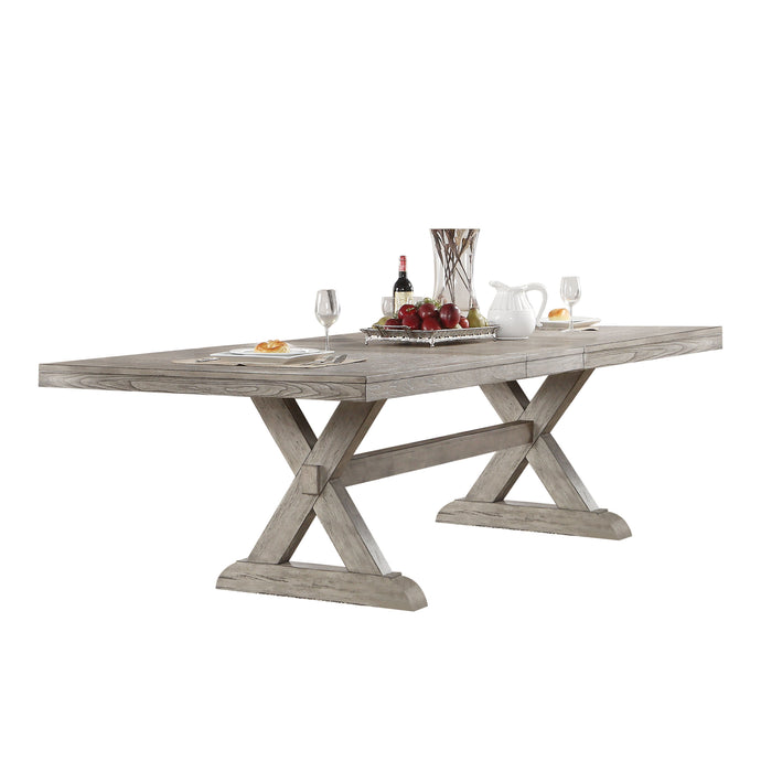 Acme 72860 Rocky Gray Oak Pedestal Dining Table with Leaves