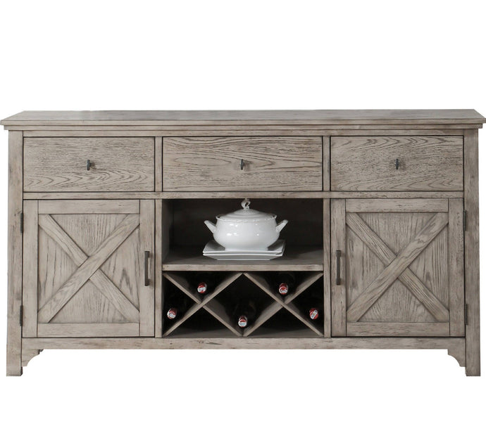 Acme 72864 Rocky Gray Oak Storage Server with Wine Rack