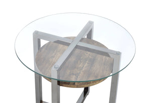 Acme 80562 Jenette Nickel Glass Top Finish End Table
