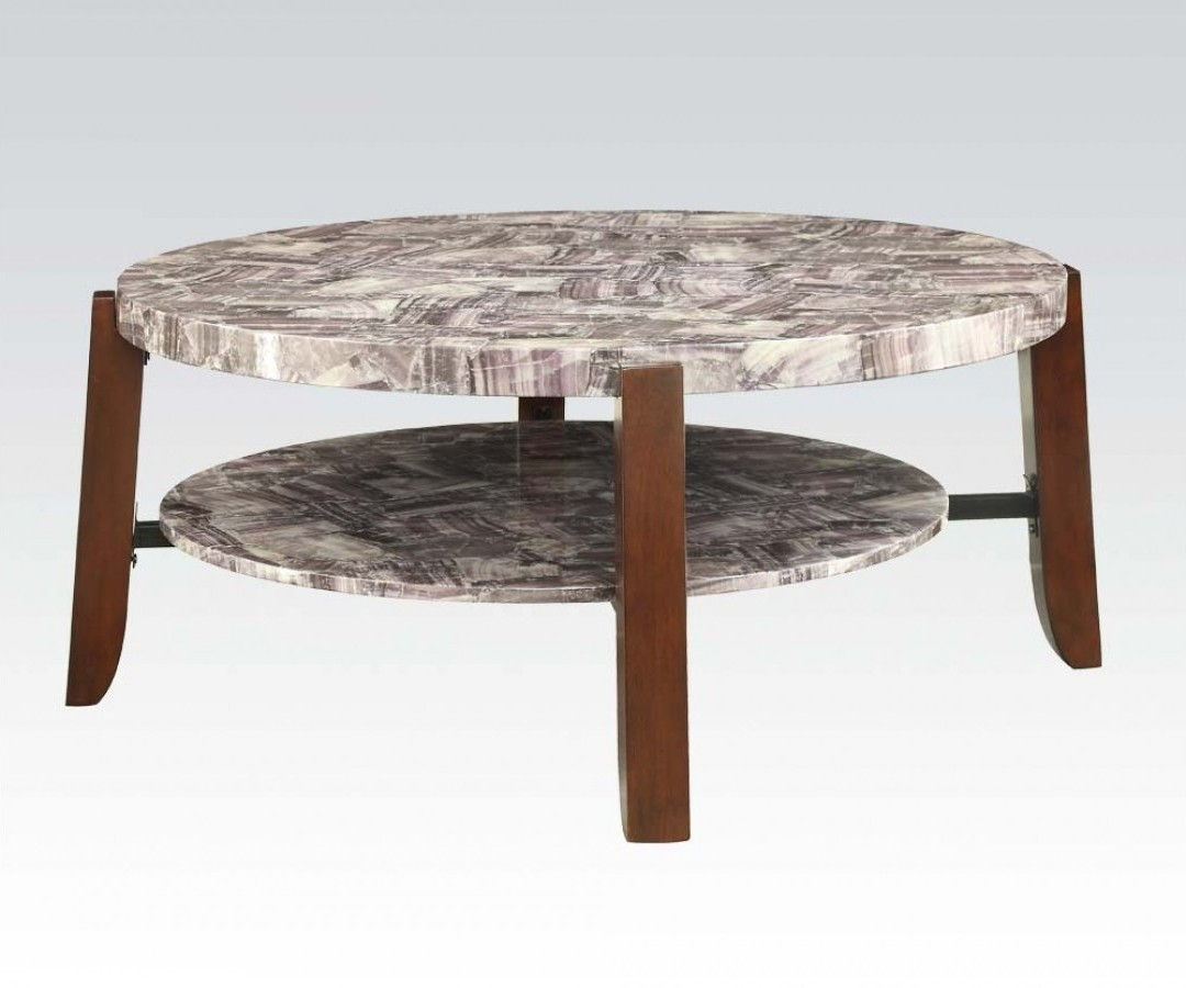 Acme Lilith Faux Faux Marble Cherry Finish Coffee Table