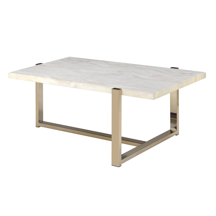 Acme 83105 Feit Gold And White Marble Top Finish Coffee Table