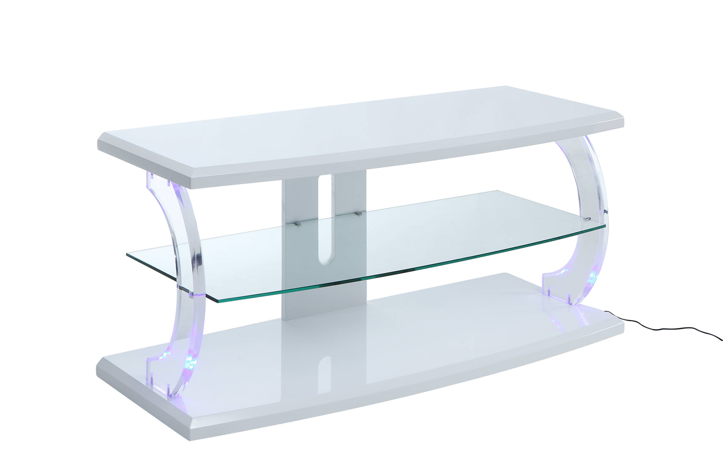 Acme 91554 Aileen White Glass Acrylic Finish TV Stand