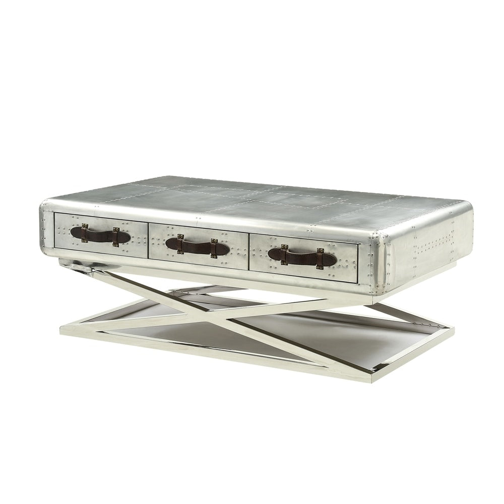 Acme 83555 Aberdeen Silver Leather Finish Coffee Table