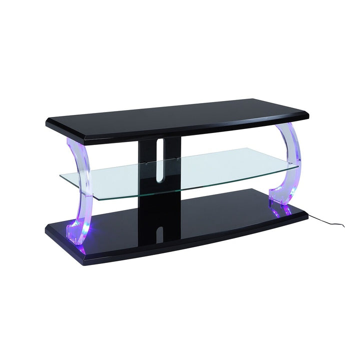 Acme 91556 Aileen Black Glass Acrylic Finish TV Stand