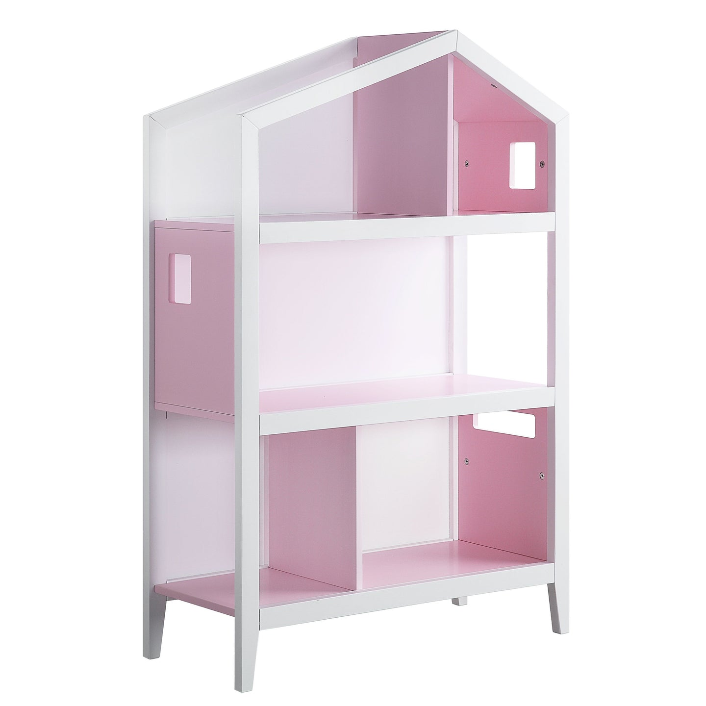 Acme 92560 Doll Cottage White Pink Wood Finish Kids Bookcase