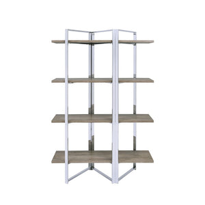 Acme 92545 Libby Chrome Metal Wood Finish Office Bookcase