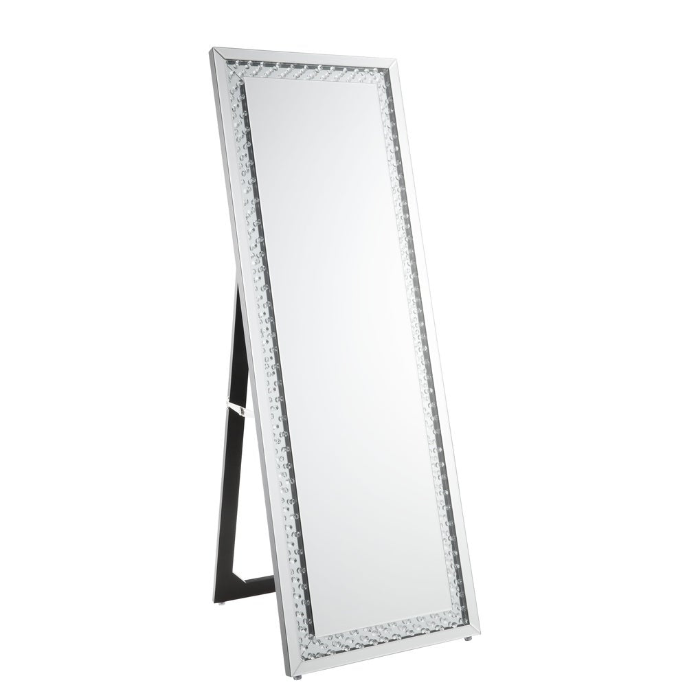 Acme 97025 Nysa Silver Finish Floor Mirror