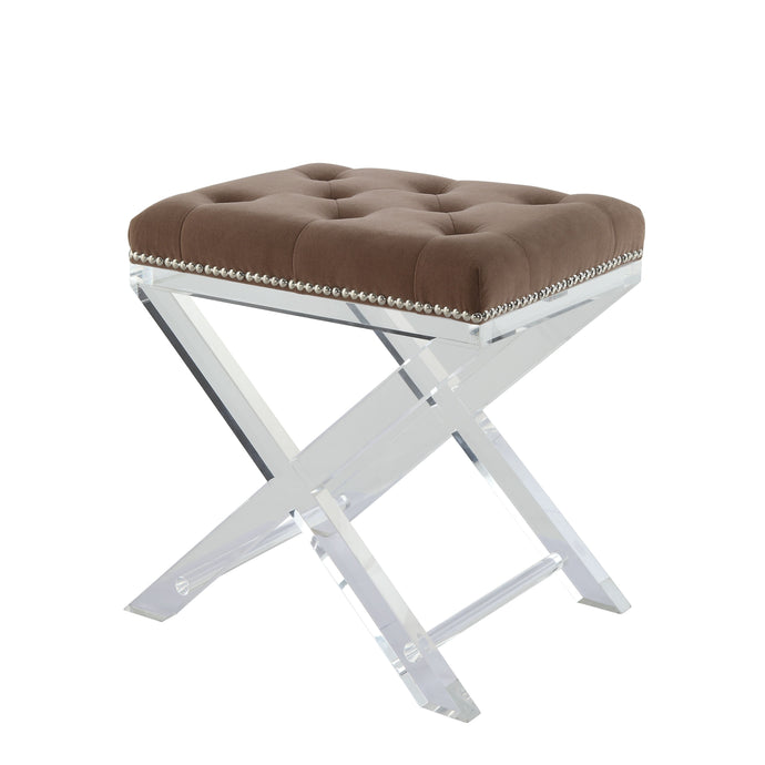 Acme 96126 Sedum Brown Acrylic Fabric Finish Accent Stool