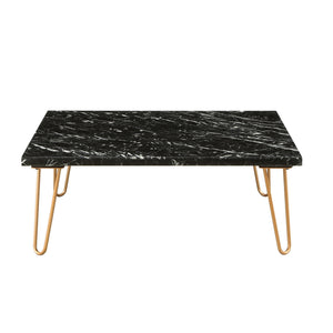 Acme 84505 Telestis Black Marble Metal Finish Coffee Table